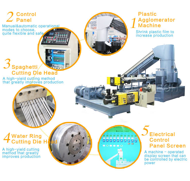 PP HDPE LDPE LLDPE Plastic Film Double Stage Compactor-Pelletizing Machine