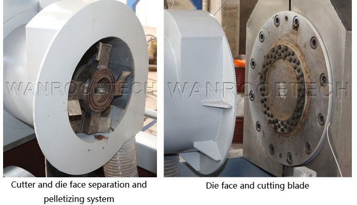 Plastic film woven bag squeezing pelletizer die face and cutting blade
